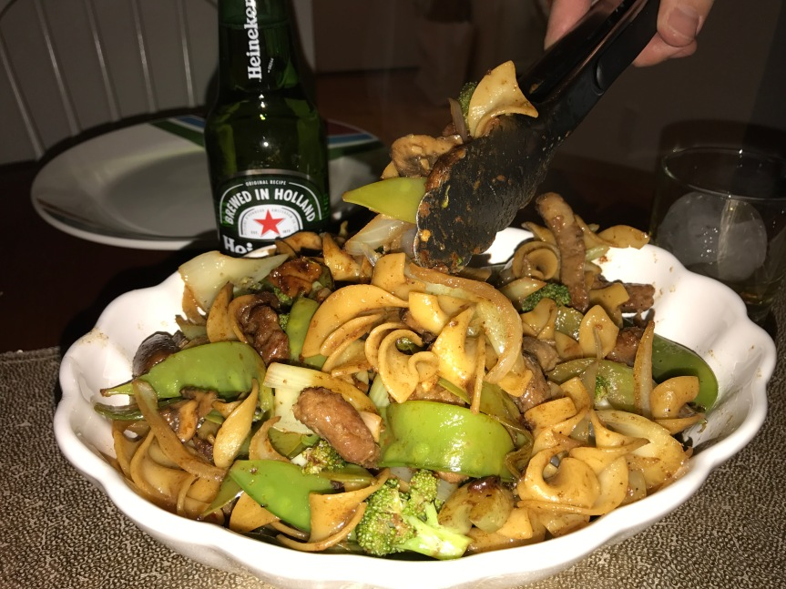 Refrigerator Scavenger Hunt Ends in Pork, Vegetable, and NoodleStir-Fry