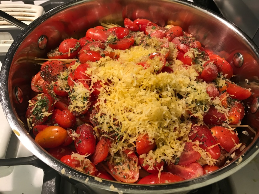 """No Need to Boil Pasta Separately: Al Dente """"One Pot Spaghetti"""" with Fresh Lemon Zest, and Spinach orKale"""