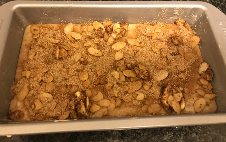 Fall Treats: Cinnamon Raisin Loaf Topped with Sugar and Blanched Almonds